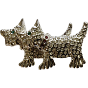 """Scotty Dogs Silver Tone with Green and Red Rhinestones Brooch Pin Scotties Costume Jewelry 1-3/4"""""""