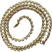 Napier Faux Pearl and Gold Tone Beaded Necklace Costume Jewelry 30""