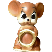 Josef Originals Angel Mouse Holding a Golden Wedding Ring Made in Japan Figurine