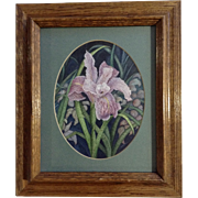 Beautiful Purple Iris Flower Landscape Watercolor Initialed by Artist