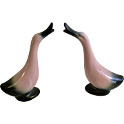 Mid- Century Stanford Sebring Ohio Pink and Black Pottery Duck / Goose Pair of Figurines