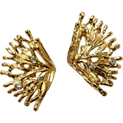 Gold tone Coral and Diamond Rhinestone Clip-on Earrings Costume Jewelry 1-1/2""