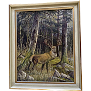 M Bichler 1958 Bull Elk in Forest Oil Painting on Canvas Signed By Artist