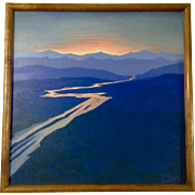 Bill Ransom, River Reflecting Sunset from mountain Vistas, Oil painting Signed by Artist