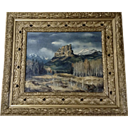 J. Robert Miller (1928-2005) Western Mountain Landscape Oil Painting Signed by Texas Artist