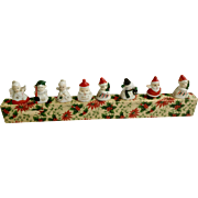 Vintage 1950's Commodore Christmas Place Card Setting Holders Ceramic Figurines with Original Box 8 Pieces