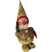 """Vintage Paper Mache' Santa Clause Bobble Head Candy Container Glitter Finish Made in Germany 9-1/2"""""""