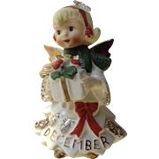 Vintage Lefton Christmas December Birthday Angel Girl with Star & Rhinestones Figurine Japan