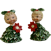 Holt Howard HH Salt and Pepper Shakers Christmas Girl with Poinsettia Flower and Red Holly Berry Dress S & P Figurine 6216