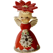 Vintage Napco Red Dress Poinsettia Flower Angel Girl Christmas Bell Ornament with Snowflake Figurine National Potteries 1956