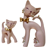 Thames Vintage Howling Long Neck Pink Atomic Mama Kitty Cat and Baby Kitten Figurines Closed Eyes Spaghetti Whiskers Golden Bows Rare