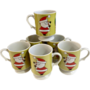 Vintage Inarco Santa Claus & Wreath Christmas Footed Mug Cups 6pc Ceramic Made in Japan E-4416