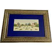 Cavalry Parade in Naqsh-e-Jahan Square, Ali Qapu Palace Iran Vintage Oil Painting in Inlaid Frame