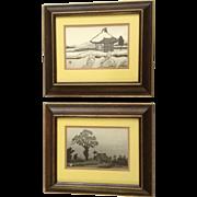 Gihachiro Okuyama (1907-1981), Woodblock Etchings Snowy Hut and Shrine Mound Listed Artist