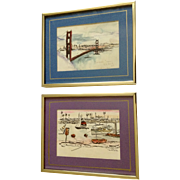 James Sing, The Golden Gate Bridge and Balboa Island Mixed Media Paintings Signed by California Artist