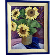 Lynna Kim, Still Life Sunflower Oil Painting on Canvas Signed by Artist