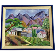 Lynna Kim, Small Town Landscape Oil Painting on Canvas Signed by Artist