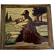 European Intarsia Marquetry Jesus in the Garden of Gethsemane With Disciples Art Wood Inlay Picture