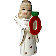Vintage NOEL Angel Girl O Figurine Small Candle Holder Ceramic Commodore Made in Japan