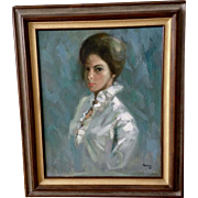 Jon Lieu, Large Portrait of Beautiful Elegant Woman Oil Painting on Canvas Signed by Artist 1965