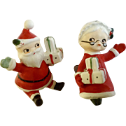 Lefton's Mr. and Mrs. Santa Claus Stocking Clip on Ornament Ceramic Figurines #2024