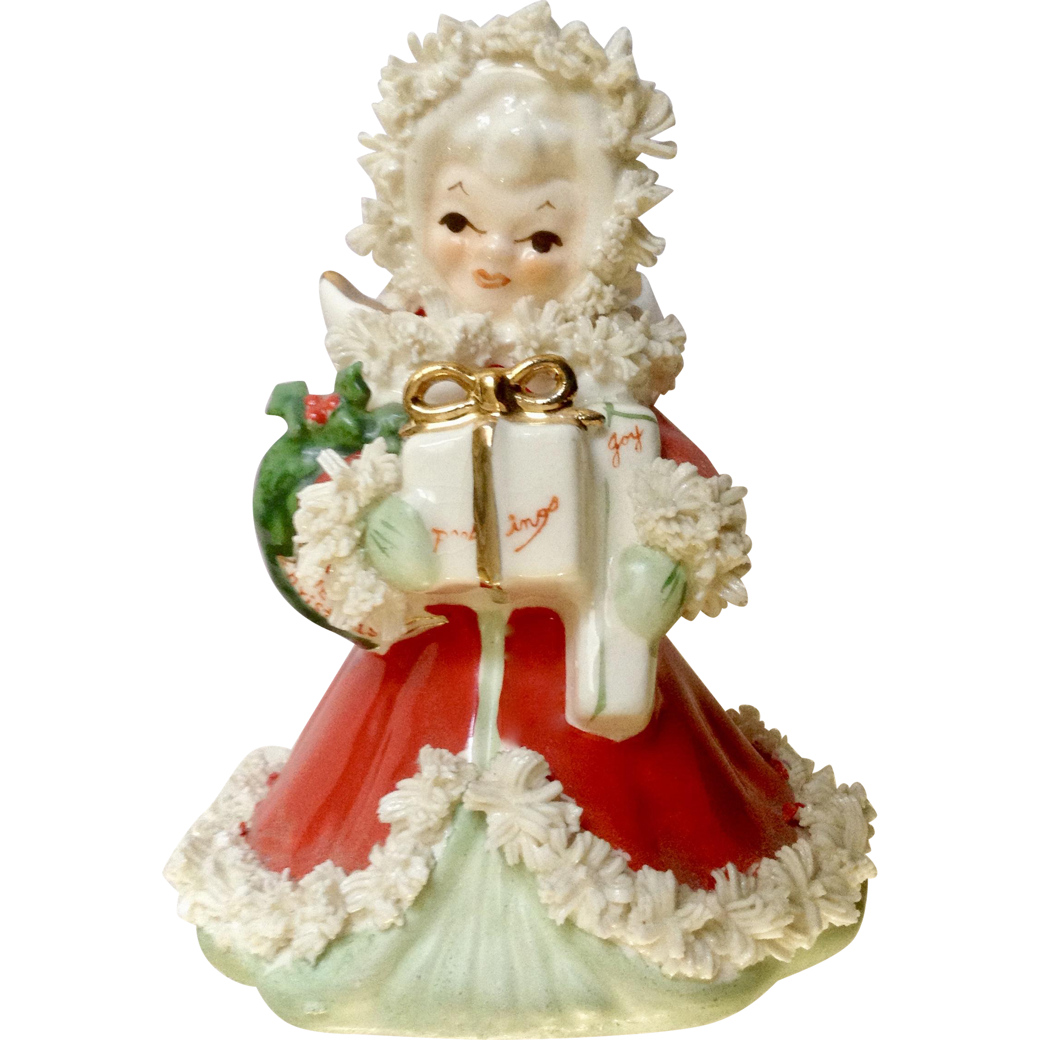 Napco Xmas Angel S116A Christmas Girl in Red with Spaghetti Trim Bearing Gifts of Season Greetings and Joy 1958