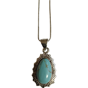 """Pretty Faux Turquoise Silver-Tone Necklace 16-1/2"""" Chain"""