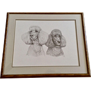 Susan (Sue) A. Rupp (1959-2008), Poodle Dog Portraits Original Pencil Sketch Signed by Artist