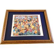 George Bush, John McCain Presidential Sweepstakes Hoedown and Others, Original Watercolor Painting Cartoon Signed by Artist Murphy, 2000 Political