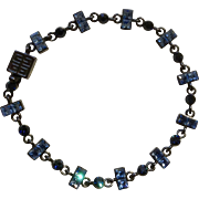 "Dark Gray and Blue Rhinestone Bracelet Costume Jewelry 7-1/2"" Long"