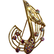 Musical Note On Gold Tone Music Setting with Pink Rhinestones Brooch Pin Costume Jewelry 2""