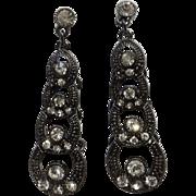 "Dangling Bright Rhinestones Stud Post Earrings Costume Jewelry 1-7/8"" Long"
