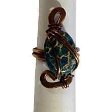 Beautiful Copper and Blue Real Stone Ring Costume Jewelry 7-1/2