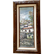 C Morales Santa Prisca Church in Taxco, Mexico 1980's Landscape Oil Painting on canvas Signed by Artist