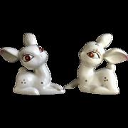 Vintage White Deer Fawns With Big Red Eyes Animal Porcelain Figurines