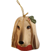 Vintage Afghan Hound Dog Christmas Pets Xmas Tree Ornament Ceramic Figurine