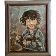 Erzinger, Inuit Alaskan Indian Boy With a Lollypop Portrait Large Oil Painting on Canvas Signed by Artist