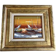 Golden Sunset with Fishing Boats at Mooring Harbor Scene Oil Painting on Canvas Signed Darrian