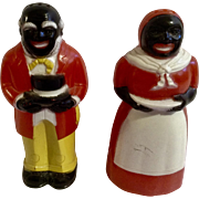 Vintage F & F Black Americana Man & Woman Salt & Pepper Shakers S & P Plastic Figurines Made in the U.S.A.