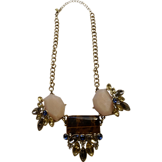 """Vintage Rhinestone and Faux Stone Pendant Necklace Costume Jewelry 18"""""""