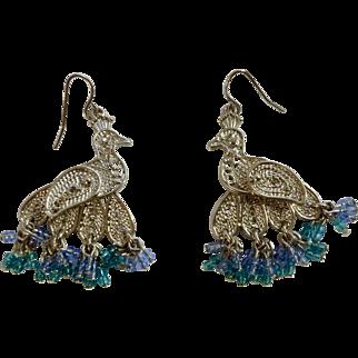 """Vintage Silver Tone Peacock Birds Fishhook Pierced Earrings Costume Jewelry 1-3/4"""""""