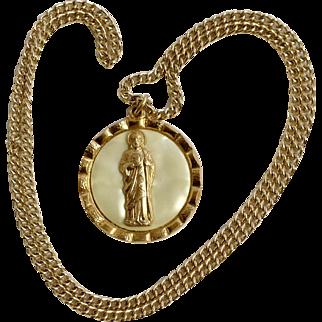 """Catholic Jesus Holding Image of Mary on Medallion Pendant Italy Costume Jewelry 23"""""""