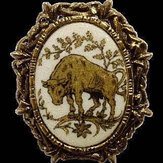 "Stunning Gold-tone Bull Animal Brooch Pin Costume Jewelry 2"""