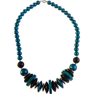 """Beautiful Teal Blue, Black and Silver-tone Beaded Necklace 24-1/2"""""""