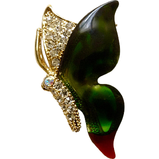 Radiant Butterfly Green Red Faux Diamond Gold tone Brooch Pin