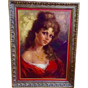 Portrait Spanish Señorita With Mesmerizing Eyes, Painting Original Large Oil on Canvas Board, Signed by Artist, Beautiful Woman