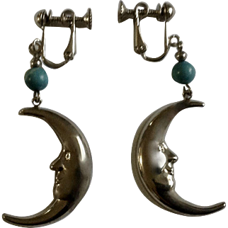 Man in the Crescent Moon Silver-tone & Blue Bead Screw Back Earrings