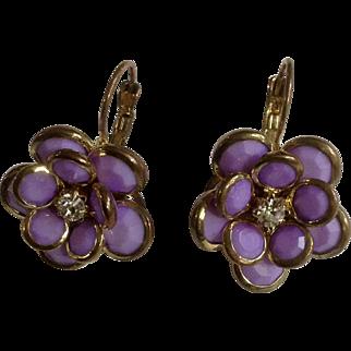 Pretty Flower Purple Beads with Faux Diamond Center Pierced Earrings