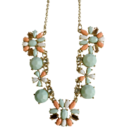 "Lovely Faux Coral and Faux Turquoise colored Gold-tone Flower Necklace 17-20-1/2"" Chain"