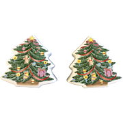 Decorated Christmas Trees Salt and Pepper Shakers with Gingerbread Boy, Package and Stocking S&P Ceramic Figurines